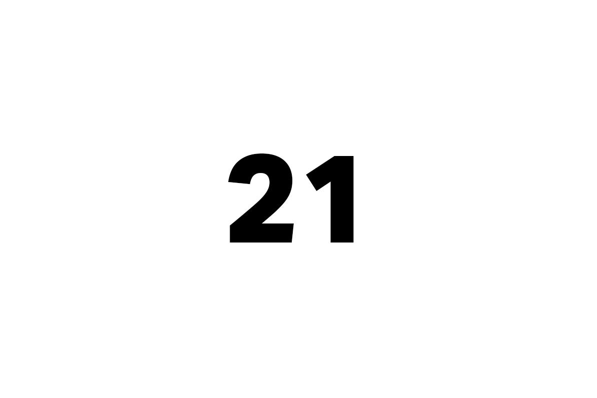 dvacet jeden, jedna, jedno